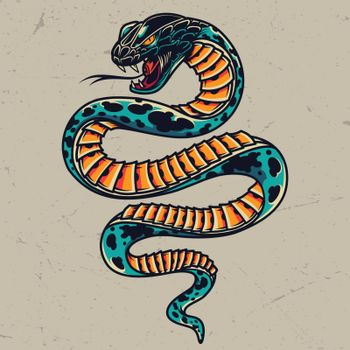 Poisonous snake colorful tattoo concept in vintage style on gray background isolated vector illustration