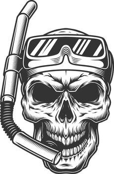 Skull in the diving mask