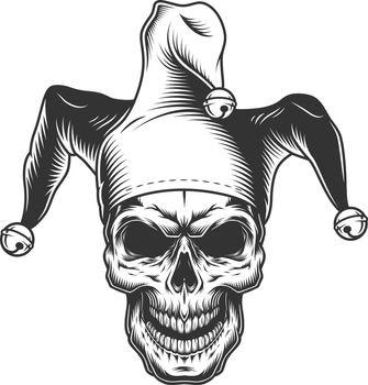 Skull in jester hat