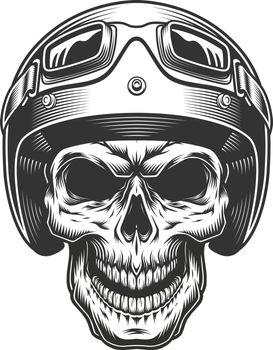 Skull in the moto helmet