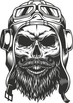 Skull in the pilot retro helmet. Vector illustration