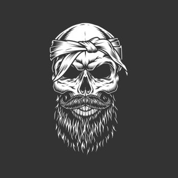 Skull with bandage mustache and beard