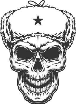 Skull in the ushanka hat