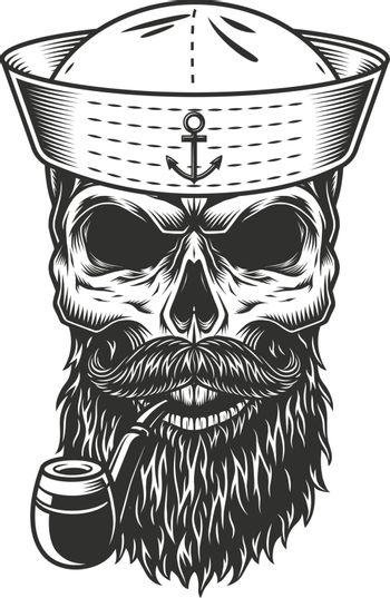 Skull with the beard and pipe