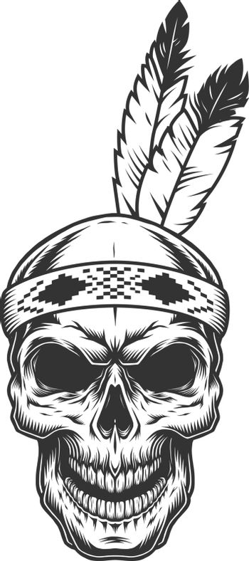Skull with indian feather