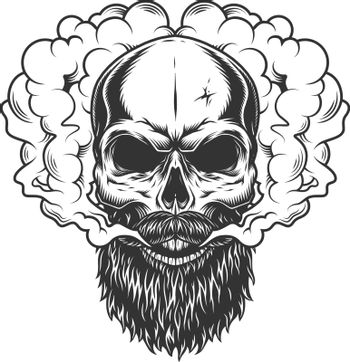 Skull with beard and mustache