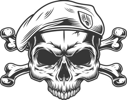 Soldier skull without jaw in beret