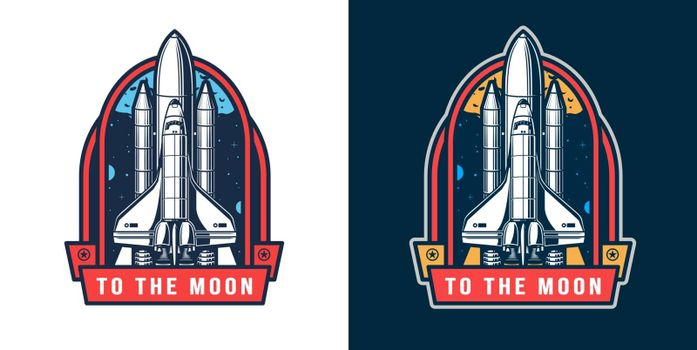 Colorful space rocket launch badge in vintage style isolated vector illustration