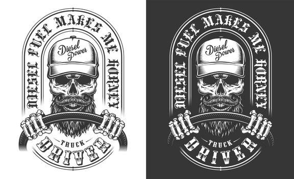 Trucker emblem with skull