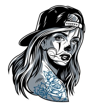 Vintage attractive girl in baseball cap with chicano style tattoos isolated vector illustration