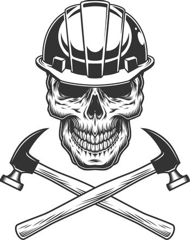 Vintage builder skull with crossed hammers