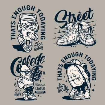 Vintage college monochrome labels with sneakers funny characters of yawning paper cup stylish pencil tired backpack isolated vector illustration