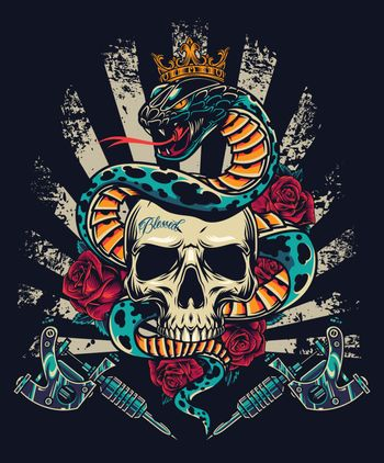 Vintage colorful tattoo concept with professional tattoo machines roses and snake in royal crown entwined around skull isolated vector illustration