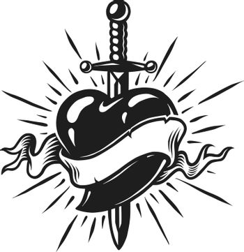 Vintage dagger in heart concept with ribbon and sunburst in monochrome style isolated vector illustration