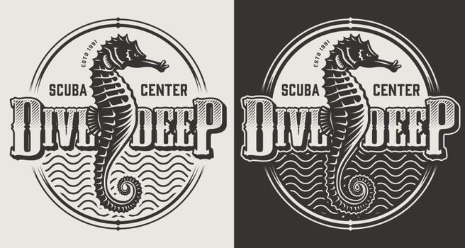 Vintage diving monochrome emblems with inscriptions seahorse and water waves isolated vector illustration