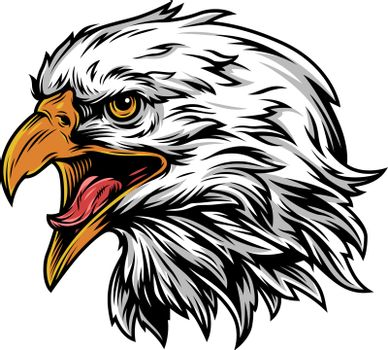 Vintage eagle head mascot colorful concept on white background isolated vector illustration
