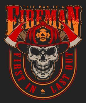 Vintage fireman colorful print