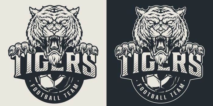 Vintage football team logotype with aggressive tiger mascot and soccer ball in monochrome style isolated vector illustration