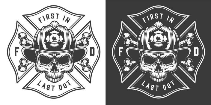Monochrome firefighting emblems