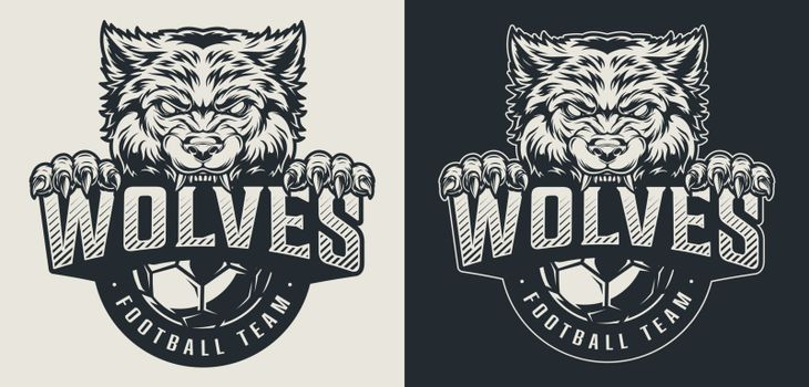 Vintage football team monochrome logo with angry wolf and soccer ball isolated vector illustration