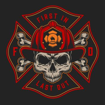 Vintage firefighting colorful logotype
