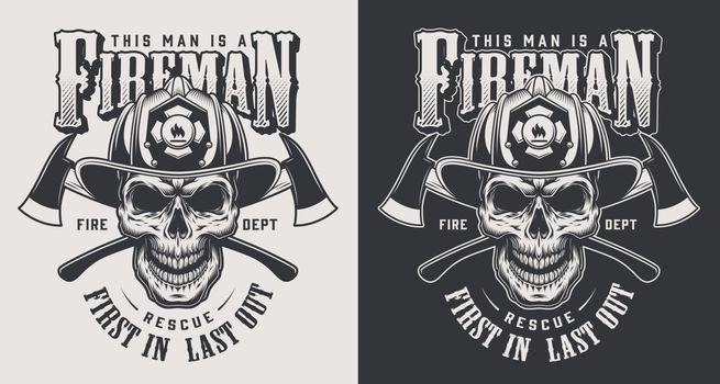 Vintage firefighting logotype concept