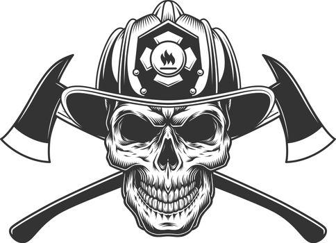 Vintage fireman skull in firefighter helmet
