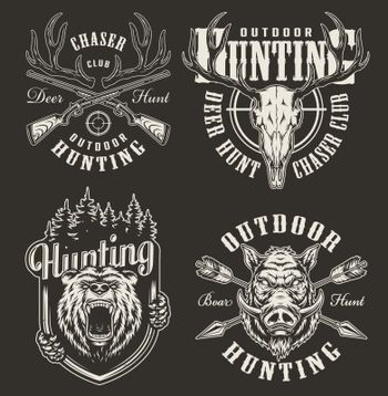 Vintage hunting prints with bear and hog heads deer skull horns rifle aim crossed guns and arrows in monochrome style isolated vector illustration