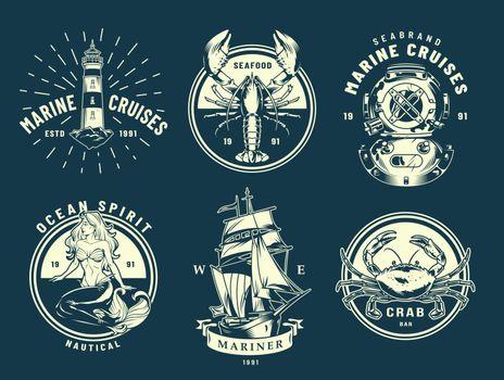 Vintage marine and sea labels
