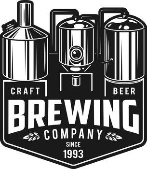 Vintage monochrome craft brewery emblem