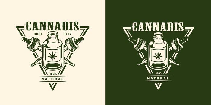 Vintage monochrome cannabis logotype