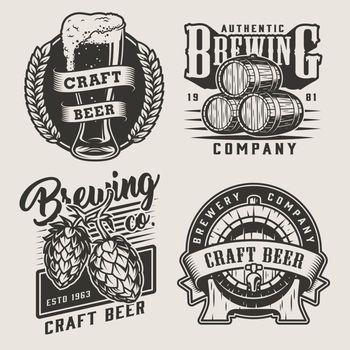 Vintage monochrome craft beer badges