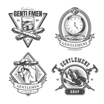 Vintage monochrome gentleman prints set