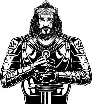 Vintage brave bearded king warrior