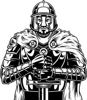 Vintage monochrome medieval warrior