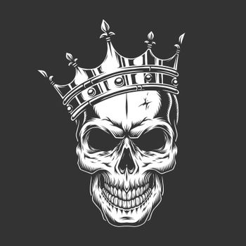 Vintage monochrome prince skull in crown
