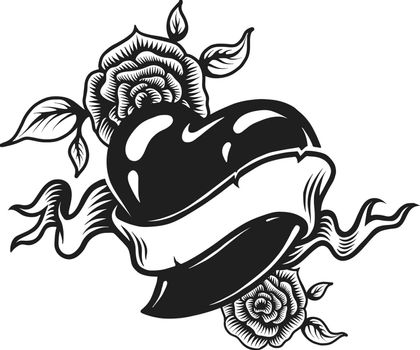 Vintage monochrome romantic tattoo concept with heart rose flowers and ribbon isolated vector illustration