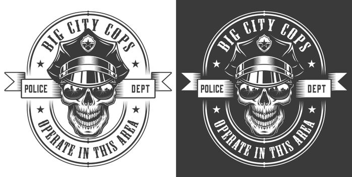Vintage monochrome police officer logo