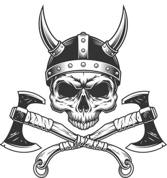 Vintage monochrome viking skull without jaw