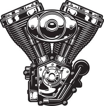Vintage motorcycle engine template