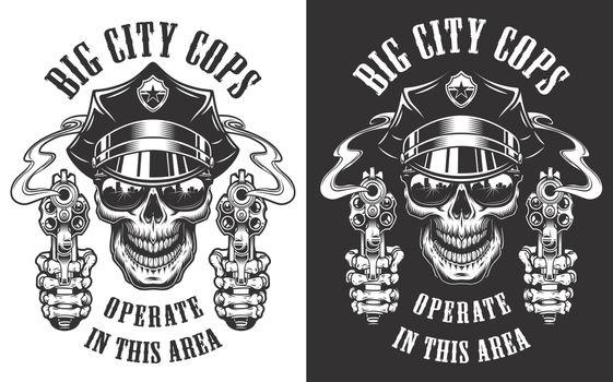 Monochrome police emblems