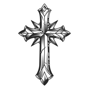 Vintage religious original cross template