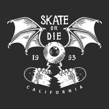 Vintage skateboarding monochrome logo