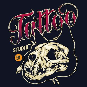 Vintage tattoo studio colorful badge with cat skull on black background isolated vector illustration