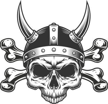 Vintage viking skull in horned helmet