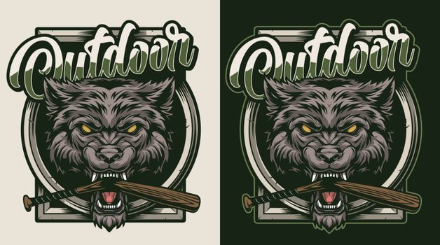 Vintage wild animal colorful badge with angry aggressive wolf head and broken baseball club in its mouth isolated vector illustration