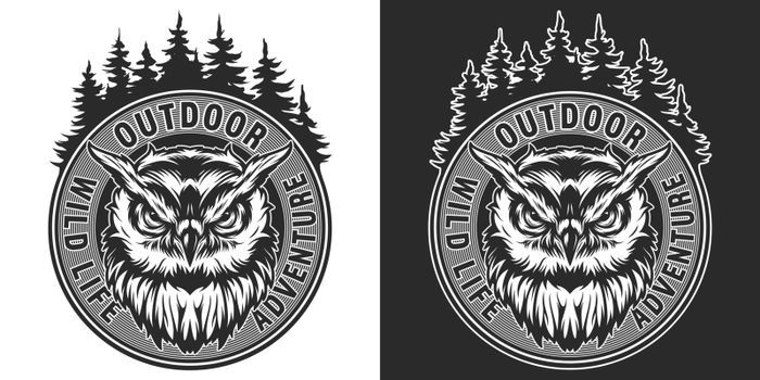 Vintage wild animal round print with angry owl and forest landscape in monochrome style isolated vector illustration