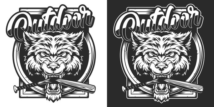 Vintage wildlife monochrome emblem with cruel wolf head and broken baseball bat in its mouth isolated vector illustration