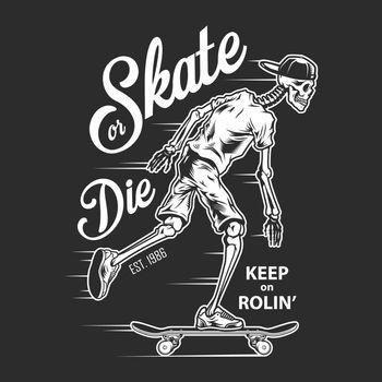 Vintage skateboarding white logotype