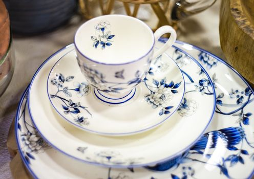Table setting with various tableware